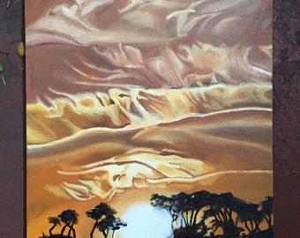 """Original 16""""x20"""" yellow sunset painting"""