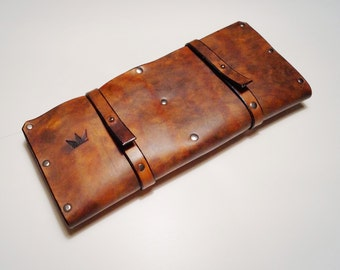 Leather Knife Roll Knife Case Cheffs Roll Chefs Bag Knives Storage Knives Roll Custom Made Leather Case
