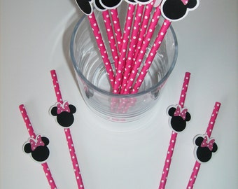12 Minnie Mouse Straws, Photo Prop Birthday Party Baby Shower (951S)
