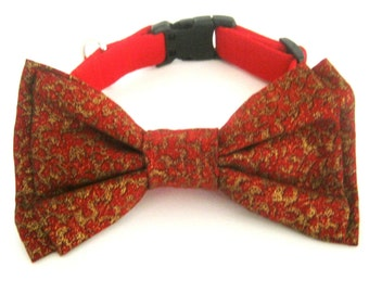 Christmas dog collar with bow tie Pet Christmas collar Red collar with bow tie Dog bow tie collar
