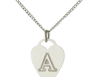 Custom Made Engraved 1 Initial Heart Pendant Necklace in Oxidized 925 Sterling Silver - Nameplate Necklace - Initial Necklace