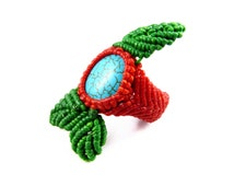 Thai Turquoise Ring Micro Macrame Leaf Tribal Boho Surfer Gypsy Woven Red Green
