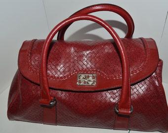 Red woven textured vinyl Massini purse, handbag, pocketbook
