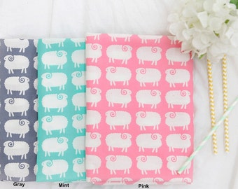 Cotton Fabric Sheep in 3 Colors By The Yard