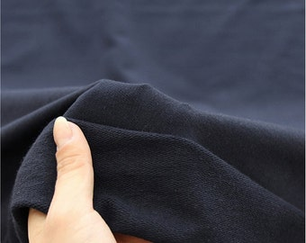 French Baby Terry Knit Fabric Dark Navy By The Yard