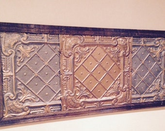 Vintage ceiling tile headboard (queen) or wall hanging art panel