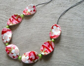 Japanese paper wooden necklace-Pink red and green