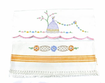 Vintage 1950's Hand Stitched Hand Towels