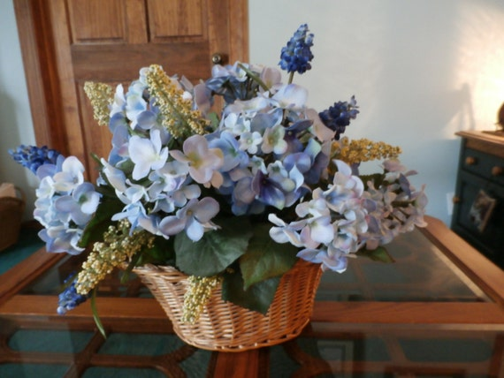 Blue silk hydrangea centerpiece by raqsilkflorals on etsy