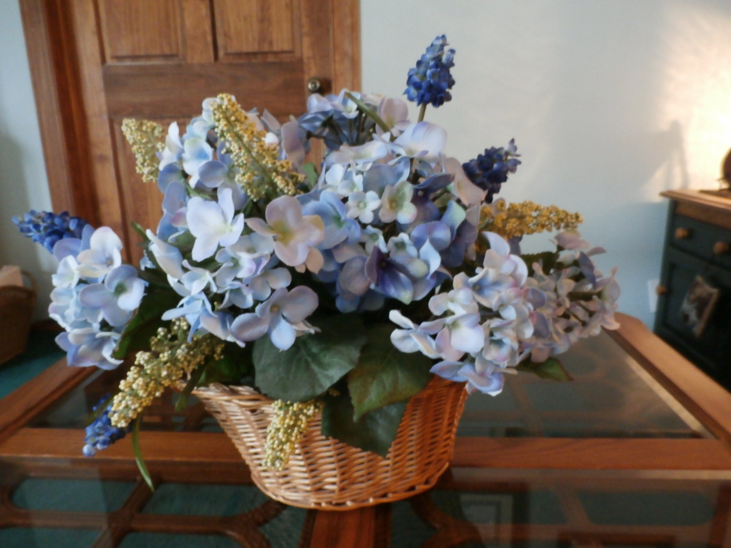 Blue silk hydrangea centerpiece by raqsilkflorals on etsy