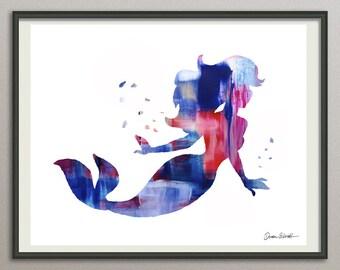 Blue purple Mermaid print, Mermaid watercolor print, Ariel print, Disney Ariel,  Little Mermaid poster, nursery mermaid, Mermaid painting