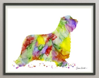 bearded collie art print watercolor print silhouette painting print poster wall art decor, dog painting print