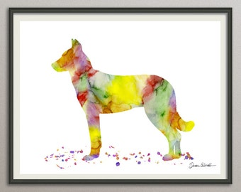 beauceron art print watercolor print silhouette painting print poster wall art decor, dog painting print