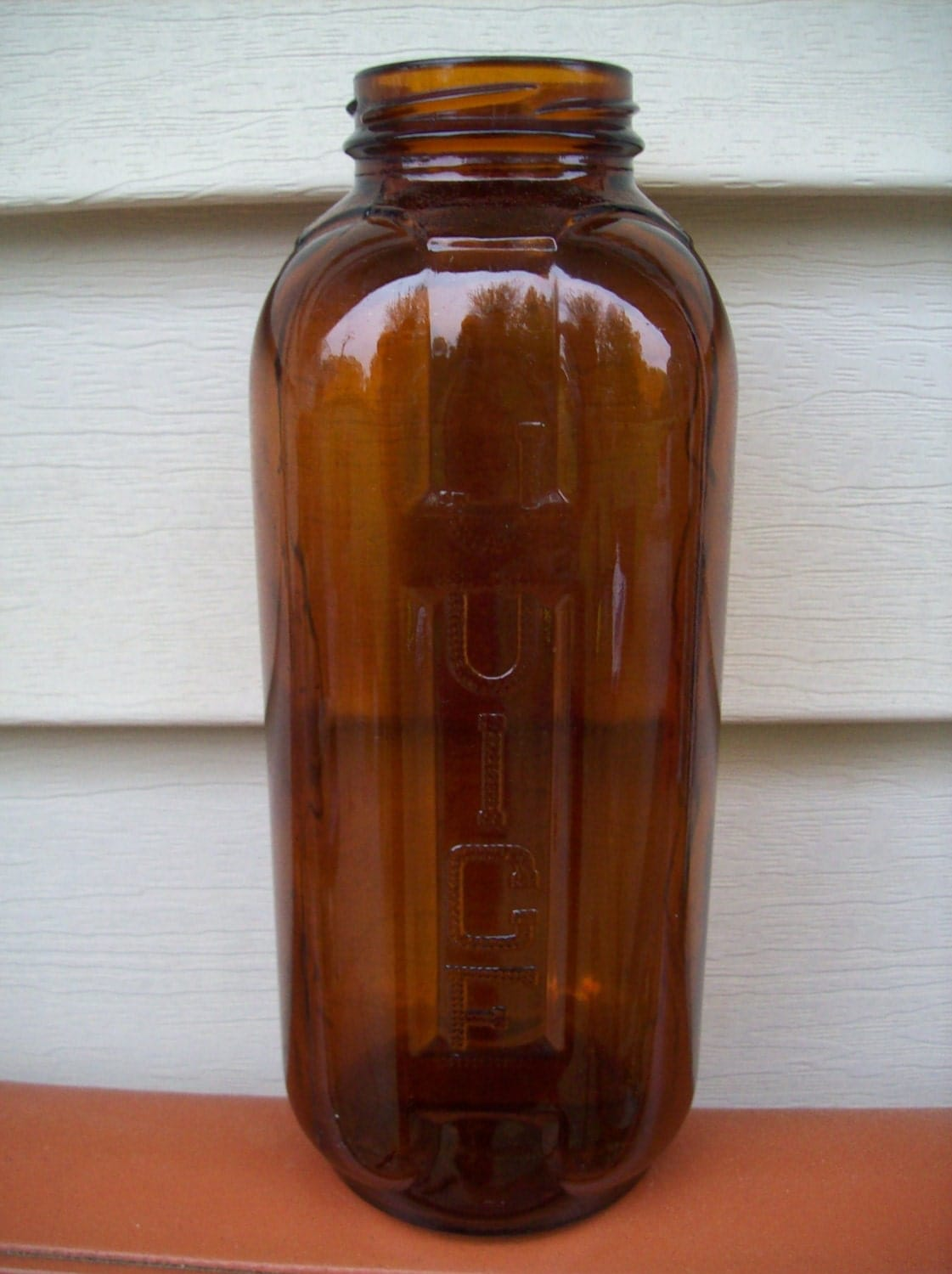 Vintage 1960 S Amber Glass Water Juice Refrigerator Bottle