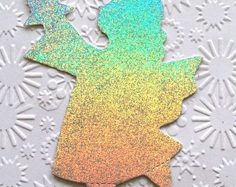 10 Silver Holographic Shiny Angel Die Cuts for Chistmas Cards, Card making, Scrapbooking Craft Project Card Toppers