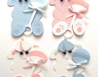 4 Large Pale Pink & Blue Teddy Bear Assembled Card Toppers with Hat and Rattle for Baby Cards Card making Scrapbooking Baby showers gift tag