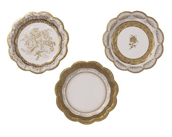 48 Gold paper plates- Charm, Christmas or New years eve party