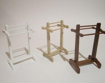 Dollhouse miniature Towel rack metal or mahogany for bathroom or bedroom, 1:12 SCALE