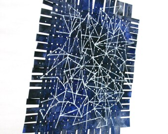 Star Chart Paper Weaving- Mobile- Two Sided- Navy Blue- Constellation, Night Sky- Acrylic and Gouache