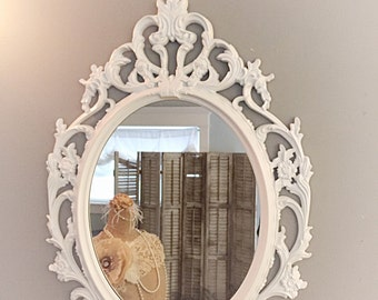 Shabby Chic Mirror, Bright White Oval Ornate Mirror, Large Vintage Style Wall Vanity Bathroom Nursery Baroque Mirrors