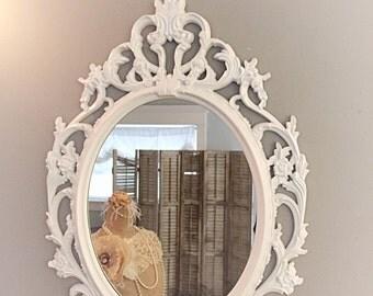 Decorative Wall Mirrors For Sale Oval Mirror Home Decor Bright White Ornate Mirror Shabby Chic Baroque Vanity Mirror 33x23
