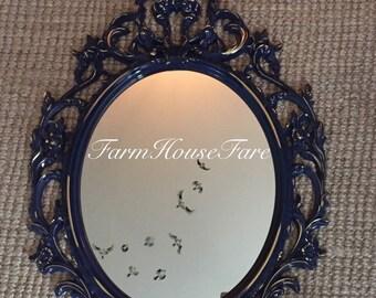 Ornate Oval Mirror, Large Bathroom Mirror, Shabby Cottage Chic Decor, Bedroom Wall Mirror, Royal Blue Baroque Mirror