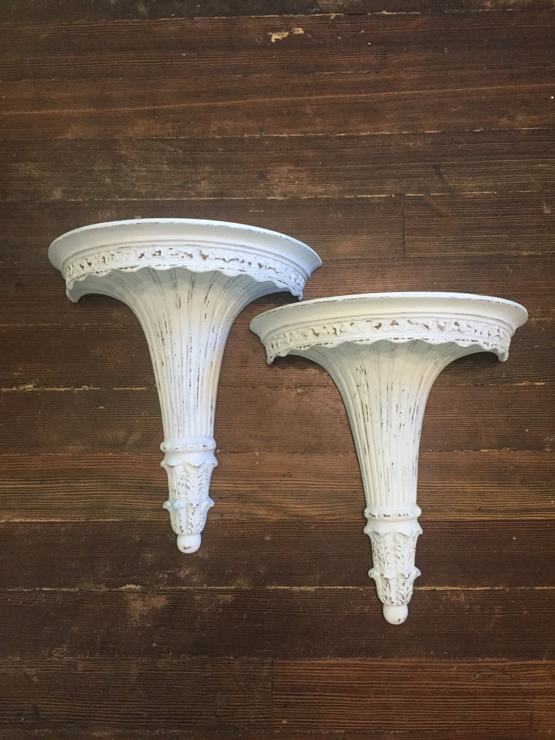 Wall Sconces Shelf : White Wall Sconce Shelf Roman Greek Ornate Chalk Painted
