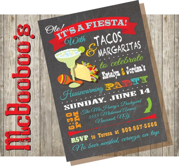 Mexican Fiesta House Warming Party Invitations – Mexican Themed Party Invitations