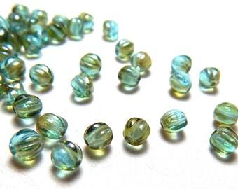 5mm Aquamarine Celsian Round Czech Beads, Blue Green Beads, Sea Green Beads, Seafoam Beads, Luster Beads, 5mm Melon Round Beads T-33D
