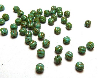 5mm Turquoise Picasso Round Czech Beads, Green Beads, Turquoise Beads, Turquoise Glass Beads, Small Turquoise Beads, 5mm Melon Beads T-33E