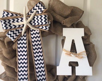 Nautical burlap wreath with letter