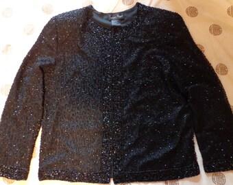 Vintage  jacket  beaded black  Laurence Kazan silk large