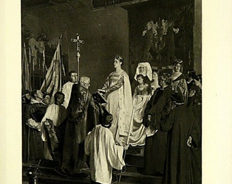 Mary Of Burgundy Swearing To Respect The Rights Of The City Of Brussels by Emile Wauters Original Antique Photogravure Print from the 1880s