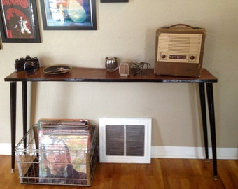 Repurposed Wood Sofa Table or Entry Table, Rustic Retro Modern Mid Century