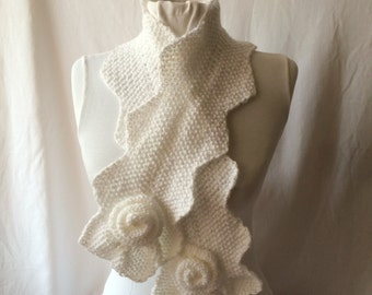 Big Sale: White Knitting Wave Scarf For Woman And Teenage Girls Fashion Accessory  Gift  For Her  Mother's Day gift, Knitted Fantasy Scarf