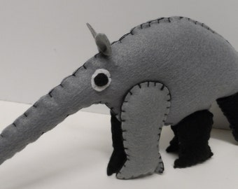 Arnie Anteater Stuffed Animal Felt Sewing Pattern Instant Download