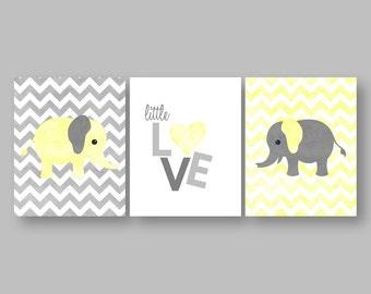 ELEPHANT PRINTS-Set of Three (3) Prints-Instant Download.Baby Prints.Nursery Prints.Bedroom Art.Children's Art.Kids Wall Art.Gray. Elephant