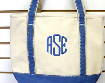 Monogrammed Tote Heavyweight Canvas Contract Handles and Trim