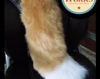 Beige Fox Tail--MEDIUM, fox, Star, fursuit, Furry Tail, wolf tail, Fursuit, Furry, Fursuit Fox Tail