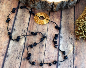 Double Stranded Necklace, Black Acai Seeds, Hoop of Golden Grass, Buriti Silk, all natural