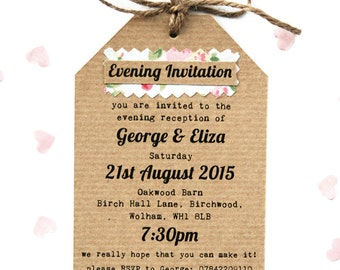Rustic, Vintage Floral Fabric Small Evening Guest Invitaiton