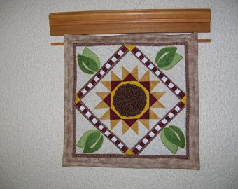 Sunflower quilt-small wall quilt-machine quilted-pieced and appliqued-apartment size-for small space.