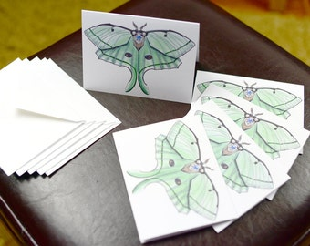 Lunar Moth Robotic Insect Blank Card