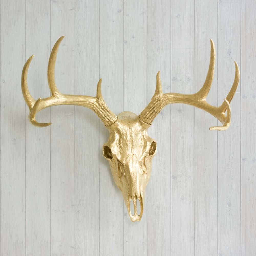 Gold faux deer skull by wall charmers faux taxidermy decor zoom amipublicfo Images