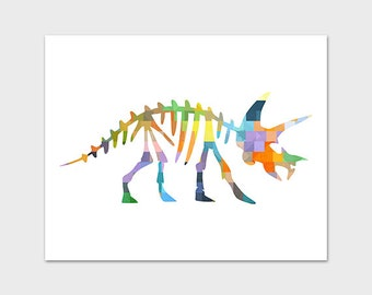 5x7 and 8x10 Dinosaur Art Print, PRINTABLE, Boys Nursery, Colorful Nursery Art, Triceratops, Dinosaur Fossil, Skeleton, Instant Download