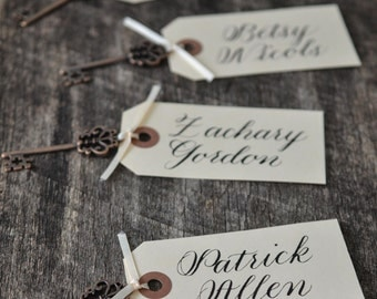 Rustic Wedding Skeleton Key Tag Place Card Name Card Calligraphy