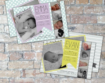 Mod Baby Birth Announcement {Boy or Girl} {Digital Item}