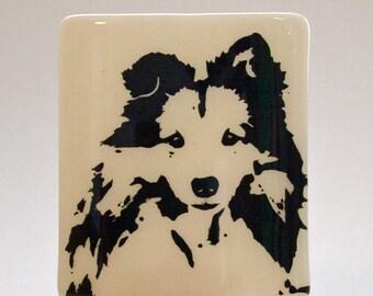 Shetland Sheepdog Night Light Screen Printed on Beige Glass