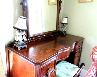 Gorgeous Antique Walnut Turn of the Century Burl Wood Vanity and Chair Mint Condition Silk Pad
