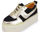 2015 Women's Fashion Lace Up Leather Shoes Flat Platform Goth Creepers Shoes Punk Casual Shoes